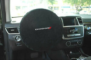 Seat Armour -Black Steering Wheel Cover w/ Dodge Embroidery SWA100DODB