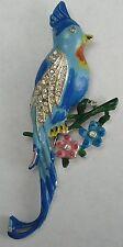 Vintage Cockatoo Cockatiel Clip Coro Rhinestones Enamel Duette Clip Mate Half