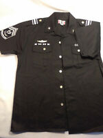 Regal Military Mens L Blue Combat Heavy Duty Short Sleeve ButtonUp Shirt Patches