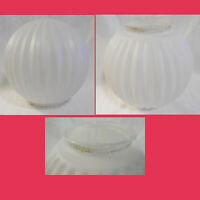 Vintage Small White Frosted Ceiling Round Ribbed Light Globe Glass Shade Lamp