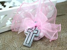6 Pink Stone Silver Metal Christening Baptism Cross Keyring Bomboniere Favour