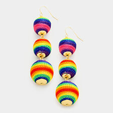 3-Tiers Of Threaded Ball Multi Color Silky Sheen Dangle Drop Earring Set