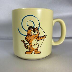 Vintage Seoul 1988 Olympics Hodori Tiger Mascot Coffee Mug Yellow
