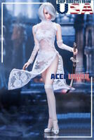 """1/6 White Lace Dress Lingeries Stockings Set For 12"""" PHICEN Female Figure U.S.A."""