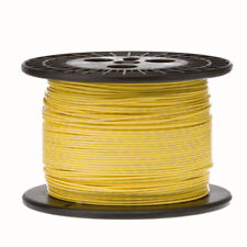 "28 AWG Gauge Stranded Hook Up Wire Yellow 1000 ft 0.0126"" PTFE 600 Volts"