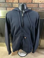 Dickies Black Zip Up Hooded Sweater Jacket Mens Sz Large Fleece Warm Heavy Duty