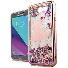 For Samsung Galaxy J3 EMERGE - Rose Gold Unicorn Pink Glitter Hearts Case Cover