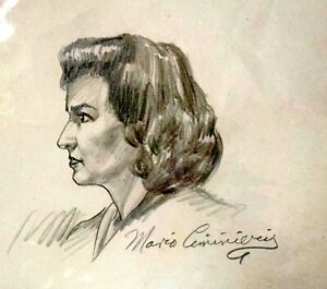 WWII Era Signed Pencil Drawing Portrait - Vintage