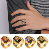 Details about  /Mens Womens Elegant Stainless Steel Gold//Black Vogue Wedding Band Ring #DR141