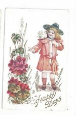 """Antique embossed Greetings Post Card Victorian Child Bird Flowers """"Happy Days"""""""