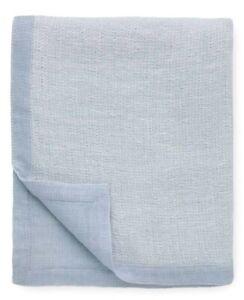 "Sferra Perlo Throw Ocean Blue Linen & Wool Blend 2-Tone Reversible 50x90"" New"