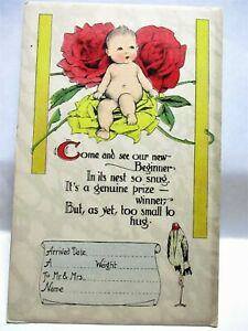 1920 POSTCARD COME AND SEE OUR NEW BEGINNER IN ITS NEST SO SNUG - BABY BIRTH