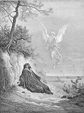 Pintura Ilustración bíblica Angel visión alucinación árbol Cartel lv2575