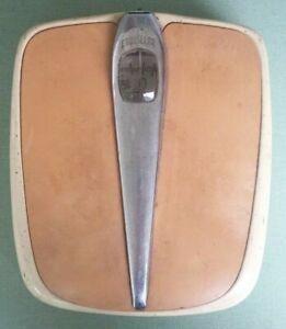 Vintage Counselor Bathroom Scale Beige/Tan/Chrome 259 lb Mid Century Works!