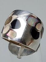 Breiter 925 Silber Bandring mit Onix & Perlmutt-Einlagen RG 58/18,4mm / A 298