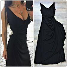 VINTAGE 90s NEW YORK black plunge wrap Cocktail Evening DRESS xs grunge goth