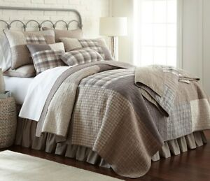 Donna Sharp Smoky Square Quilted Farmhouse Rustic Country **TWIN** Quilt & Throw