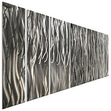 Abstract Brushed Metal Wall Art Ray Silver 3D Contemporary Home Decor Ash Carl