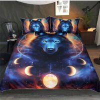 Moon Wolf Single/Double/Queen/King Bed Quilt Duvet Doona Cover Set Pillowcase