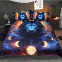 Moon Wolf Single/Double/Queen/King Bed Quilt Duvet Doona Cover Set Pillowcase