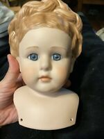 Vintage Porcelain Fashion Doll Head Bust Hand Painted Victorian Style Glass eyes