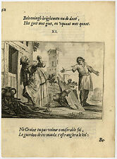 Antique Print-GOOD BEGETS GOOD-DOG-MOTHER IN LAW-PEBBLE-11-Savery-Veen-1642