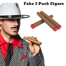 3 Pack Fake Cigars Gangster Mafia Cowboy Playboy Costume Prop Wild West Red Tips