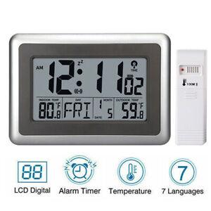 Atomic Wall Desk Clock Large Display w/ Indoor Outdoor Temperature Date Calendar