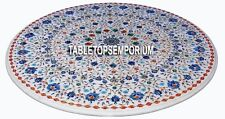 """30"""" White Marble Top Coffee Table Lapis Stone Marquetry Inlay Outdoor Decorative"""