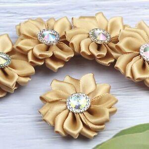 "1.5"" 15P Satin Ribbon Flower W/Crystal Bead Appliques Multi-layer Craft Applique"