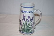 SJ Pottery Redware Purple Floral Handled Mug or Vase