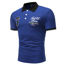 Hot Sale Numbers Embroidery Casual Polo Shirt - Royal Blue