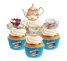 Vintage Time For Tea Collection (2) 12 Edible Stand Up wafer paper cake toppers