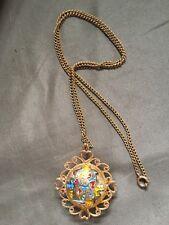 "Orb Locket Pendant Gold Tone w/24"" Gold Tone Chain Colorful Rare"