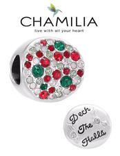 Genuine CHAMILIA 925 silver & Swarovski DECK THE HALLS charm bead, Christmas