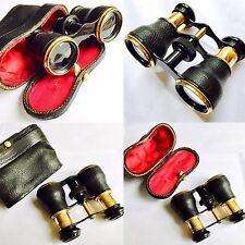 Superb Quality Antique Gold Gilded Leather & Brass Binoculars & Original Case