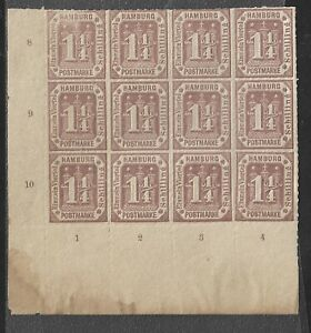 GERMAN STATE HAMBURG 1864 12 STAMPS CORNERBLOCK 1 1/4 SCHILLING GENUINE VF MNH