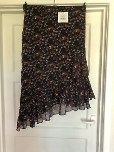 Great Plains Size 12 Skirt Ruffle Navy Paprika Red NEW+TAGS Rrp £70 salsa Look