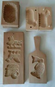 4 Stück alte Model Holz,Buttermodel  Blume, Lamm- 2 teilig, Fisch, Spekulatius