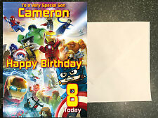 LEGO MARVEL AVENGERS Birthday Card Personalised A5 Large any Name Age