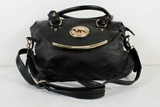 Michael Kors Black Leather Fold Over Removable Shoulder Strap Large Hand Bag
