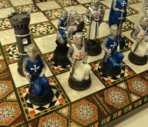 "MEDIEVAL TIMES CRUSADES Blue White Maltese Knight CHESS SET 17"" MOSAIC COLOR BD"