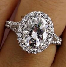 Ring 925 Sterling Silver Size 8 2.67 Ct Near White Oval Moissanite Engagement