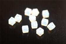 20pcs Opal White Glass Crystal Faceted Cube Beads 8mm Spacer Jewelry Findings