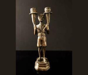 Vintage Bronze Tone Blackamoor Candle Holder Moorish Moors Morcic