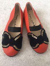 Bonjour Annika Bow Mary Jane Girl's Leather Shoes, Orange, 170/ UK9/ US10/ EU 27