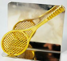 """Tennis Racket - Business Card Holder - Brass and Silver-toned 3.5"""" x 1.75"""""""