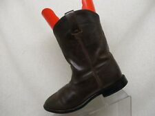 Justin Brown Leather Cowboy Western Roper Boots Style 3410Y Youth Size 5 D