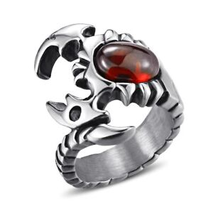 Vintage Scorpion King Men's Rings Stainless Gothic Red Stone Scorpion Punk Ring