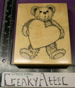PSX K-1421 TEDDY BEAR HEART TAG FRAME RUBBER STAMP CREAKYATTIC